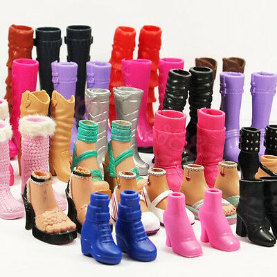 6 Pairs Party Boots Sandals Shoes Lot Assorted Styles Gift For Barbie Dolls