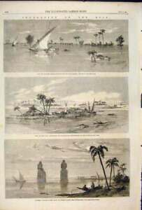 Old-Antique-Print-Flood-Nile-River-Egypt-Thebes-Floods-Africa-Kafr-Zayat