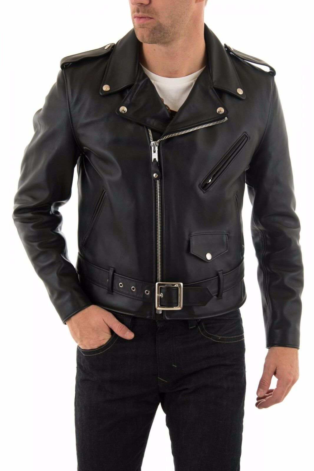 Veste en cuir pour hommes US Veste cuir Herren Lederjacke chaqueta cuero R101a