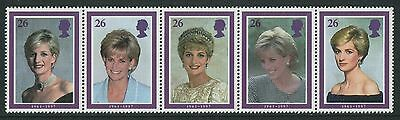 DIANA, PRINCESS OF WALES 1998 - MUH SE-TENANT STRIP OF FIVE (GO215-PB)