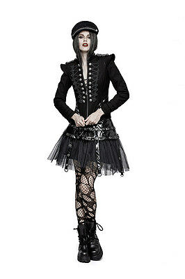 Punk Rave Black Military Short Jacket Gothic With Frogging and Epaulettes Y-722
