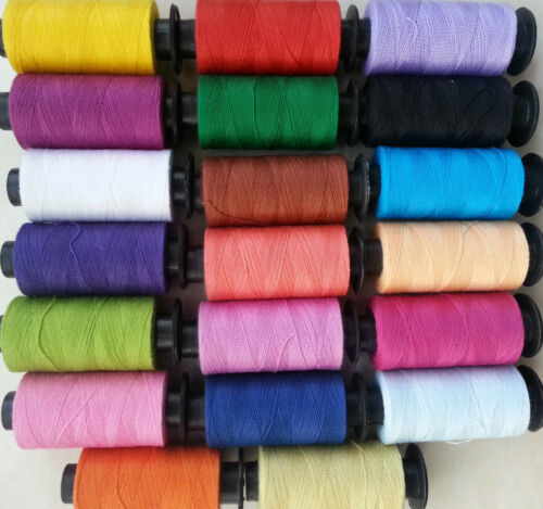 20 x Large 100/% COTTON SEWING THREAD SPOOLS 20 Nice Colors 400 Yards Each