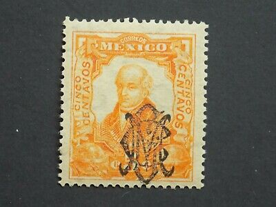 "(1) Mnhmexican Stamp Off Paper 1903 ""vila Overprint"" 5 C Orange Scott # 452 Modieuze Patronen"