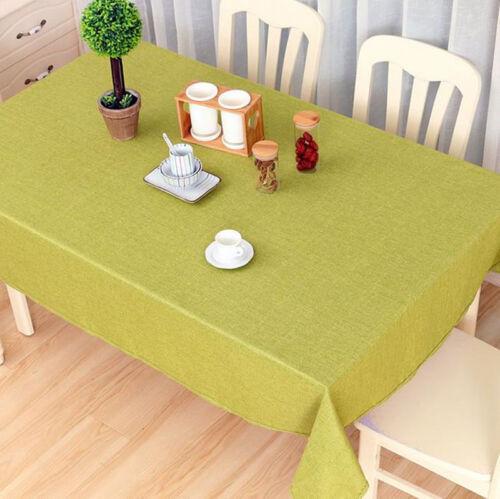 Solide Couleur Rectangle Nappe De Table Housse En Lin Cuisine Home Decor Protector