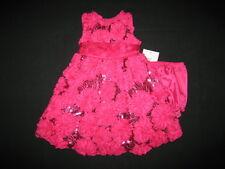"NEW ""FUSHIA SOUTACHE SEQUIN"" Dress Girls 6m Fall Winter Clothes Baby Holiday"
