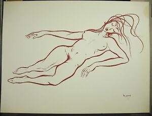Candide Ben Genaux (1911-1996) Nu De Femme Naked Nude Woman Estampe Originale 60 Cm CaractéRistiques Exceptionnelles