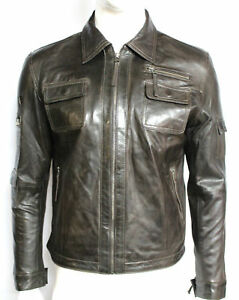 3fd75923c Details about Men Genuine Lambskin Leather Shirt Premium Vintage Biker  Sleeves Button Jacket