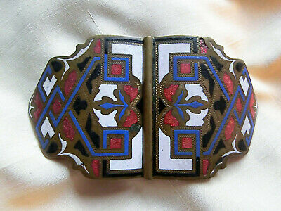 Amabile Grande Vintage Art Deco Fibbia Di Smalto Multi Colore Guilloche-