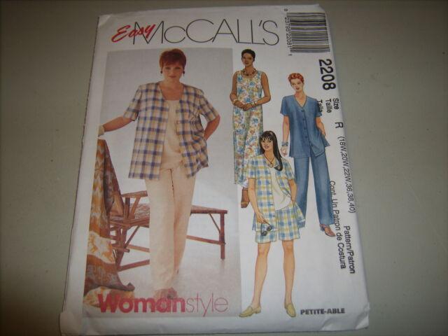 McCalls 2208 Plus Womens Shirt Dress Top Pants Shorts Sewing Pattern ...