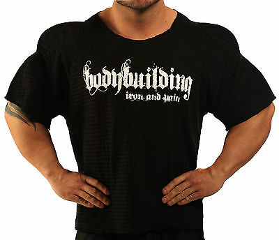 BLACK HARDCORE WORKOUT TOP BODYBUILDING CLOTHING L-133