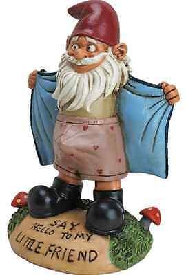 FUNNY Pervert Gag Gnome Joke Figurine Say Hallo to my Friend Garden Patio Prank