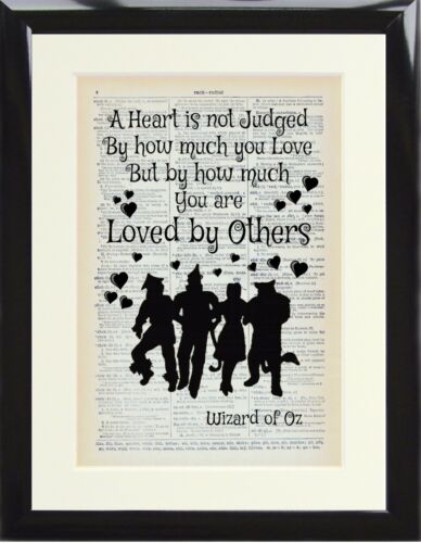 Dictionary Art Print Page Wizard of Oz A Heart is not Judged Others Gift Poster