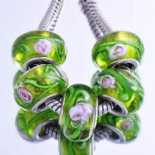 5pcs Green Lampwork White Stripe Murano Glass European Bead Fit Charm Bracelet