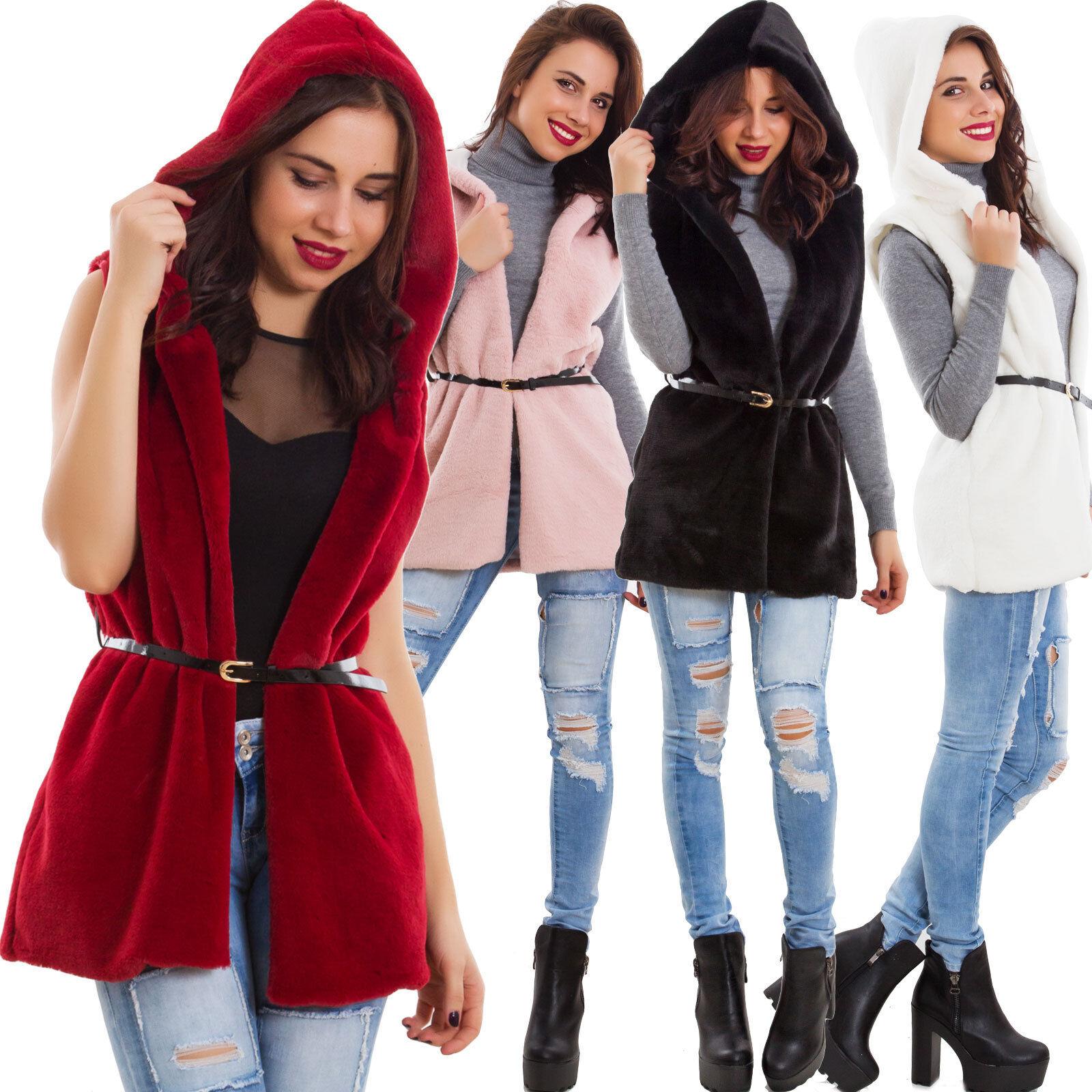 Chaqueta de women piel sintética capucha chaleco invierno cálido nuevo AS-0895