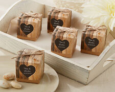 72 Rustic Lace Brown Paper Favor Boxes with White Bow Wedding Table Setting