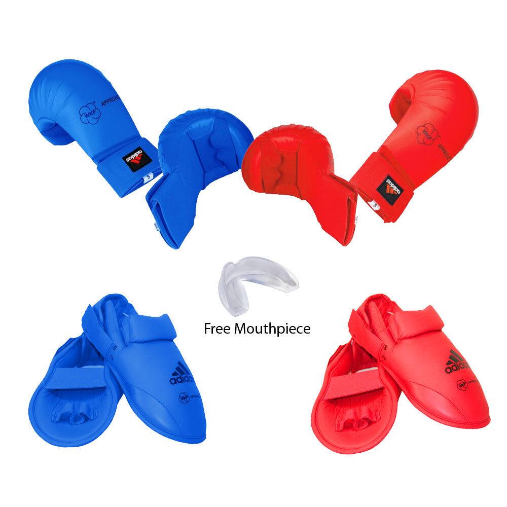 Neues adidas Karate Sparring Gear BASIC Set Hand, Foot Guard & Mundstück-rot,Blau
