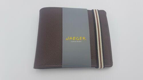 Jaeger Bi-Fold Portefeuille en cuir marron neuf avec étiquettes