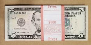 100-PCS-BRAND-NEW-UNC-5-Five-Dollar-Bills-Sequential-Order-FULL-BUNDLE-500