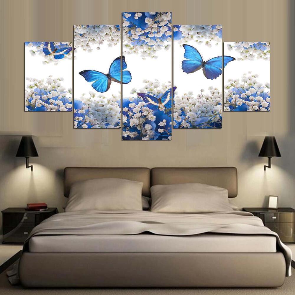 Adonis Blau Butterfly On Weiß Flower Landscape 5 Panel Canvas Print Wall Art