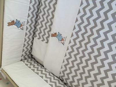 Peter Rabbit grey chevron crib set and matching sheet.