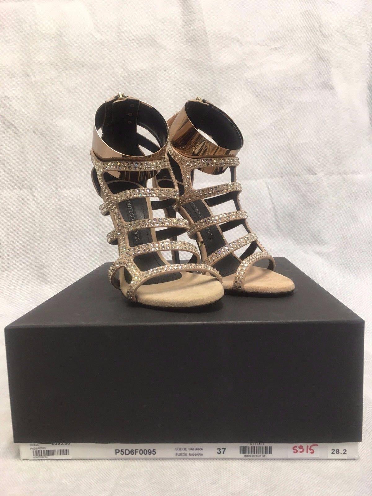 Gianmarco Lorenzi Beige Diamante Leder Sandale Heels. P5D6F0095. Various Größes.