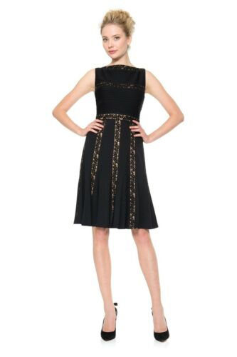 $288 Tadashi Shoji Black Nude Pintuck Jersey Embroidered Lace Fit /& Flare Dress