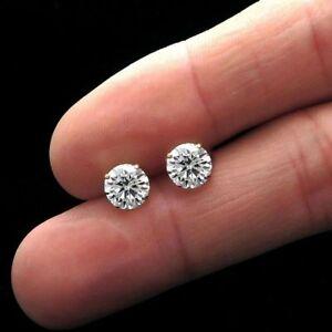 1.25 CT Round Cut Bleu Boucles D/'oreilles Clous 14K Solide Or Jaune Simulé Diamant
