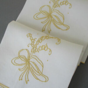 Pr Vintage MADEIRA Linen Guest Towels Hand Embroidered LILIES of the VALLEY BOWS