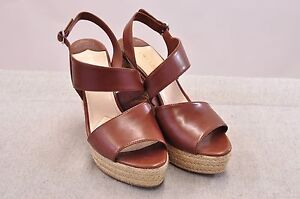 9e78017ce2c Details about NIB PRADA CALZ DONNA BROWN LEATHER ESPADRILLE WEDGES MADE IN  ITALY