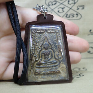 Phra-Buddha-Chinnarat-Protect-Pendant-Chinnaraj-Amulet-Thai-Antiques-Necklace