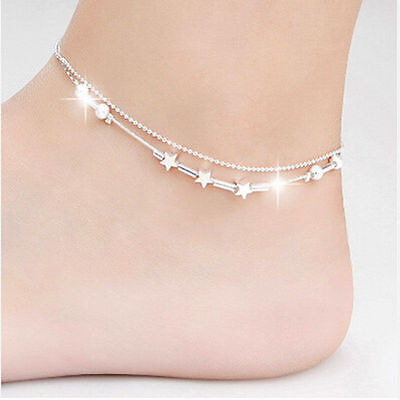 Jewelry & Watches Ladies Girls Silver Star Anklet Ankle Bracelet Chain Adjustable Uk Seller Buy One Get One Free