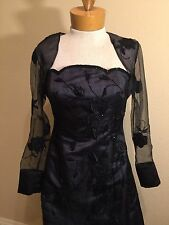Jovani Size 8 Black Beaded Floral Strapless Gown Prom Formal Dress w/Jacket  EUC