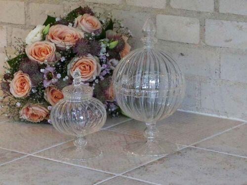 Plätzchendose bonboniere en pie chic Antique vidrio lata keksschale h 24 cm