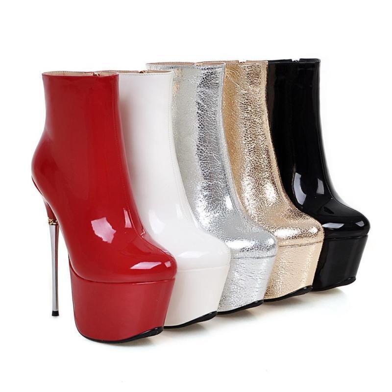Sexy Super High Heel Damen Plateau Stiefeletten Party Stiefel Schuhe Nachtclub