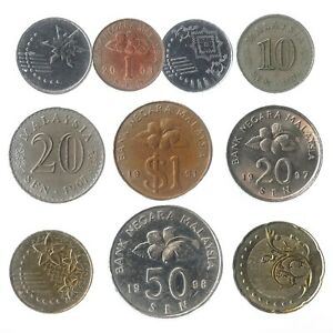 10-DIFFERENT-COINS-FROM-MALAYSIA-ASIAN-OLD-COLLECTIBLE-MONEY-MALAY-SEN-DOLLAR