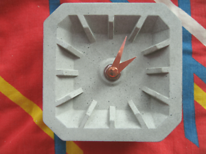 Desk//Table Clock Scandinavian Style Modern//Minimal In Concrete With Copper Hands