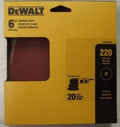 """Dewalt DWAS60220 6/"""" x 220 Grit PSA No Hole Sanding Discs 20pk"""