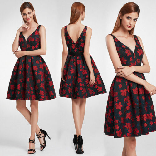 Ever-Pretty Girls Formal Evening Gown V-neck Floral Party Short Ball Prom Dress