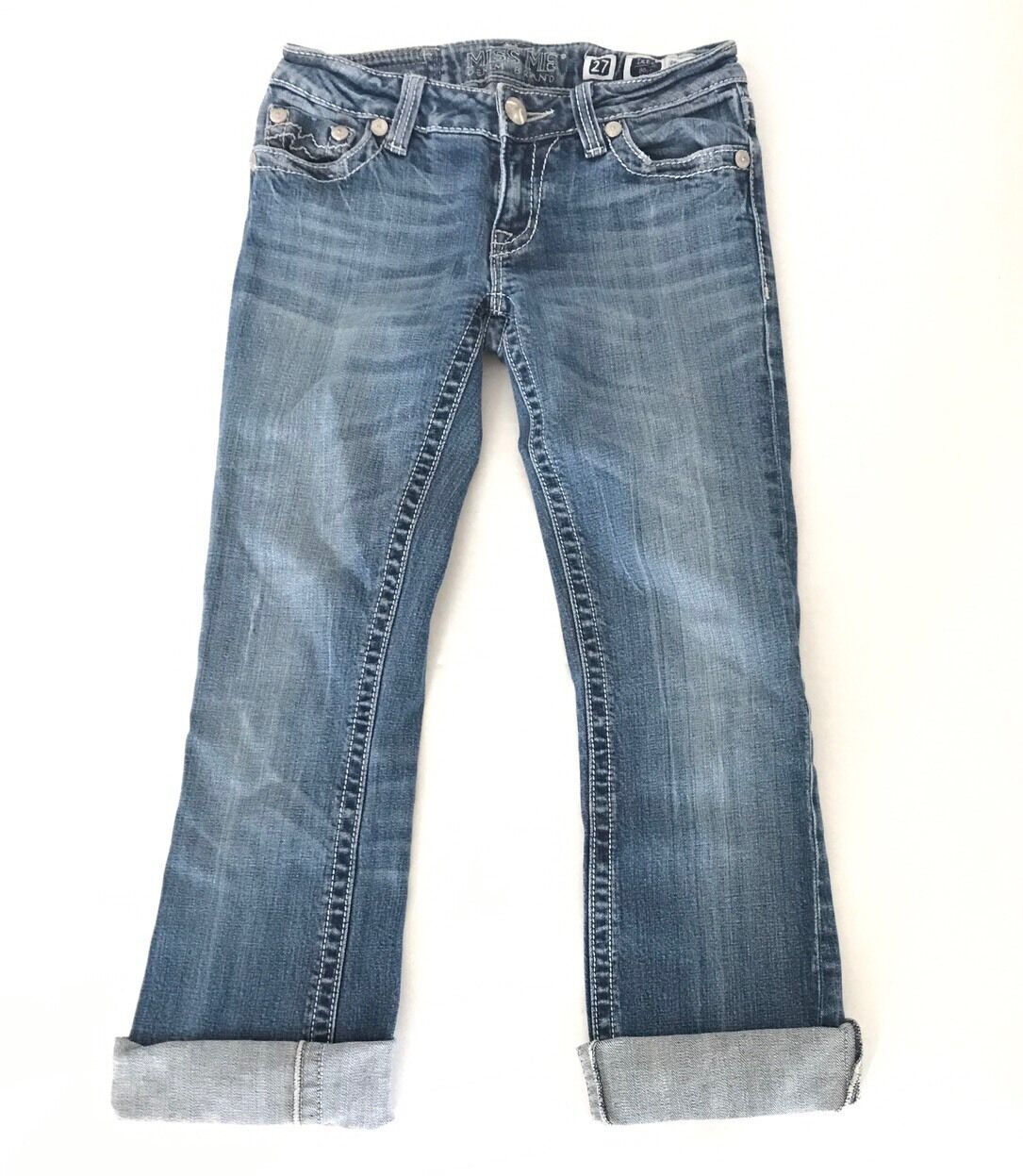 Miss Me Bootcut Jeans Size 27 x 28 Embellished bluee Denim Button Pants JPD1001F