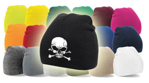 Viele Farben! Bestickt Totenkopf Mütze Beanie 07 Skull