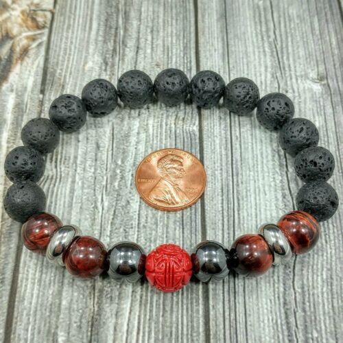 "8/""L STAINLESS STEEL 10mm Hematite+Tigers Eye Gemstone Chinese Bead Men Bracelet"