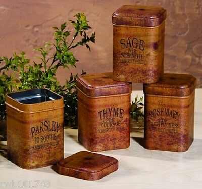Rosemary Thyme Parsley Sage Food Safe Herb Spice Tins vintage prim kitchen decor
