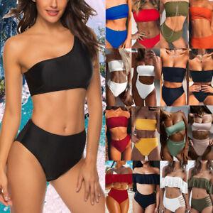 New Women One shoulder Two Pieces Bikini Set Swimwear Push Up Swimsuit Beachwear