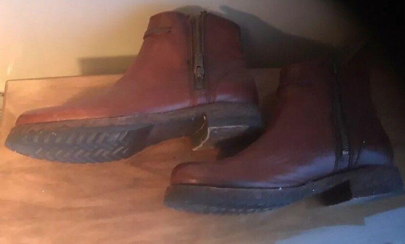 Dark braun Leather Double Double Double Side Zip Ankle Stiefel schuhe Größe 6.5 B 101a4e