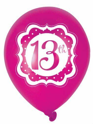 """6 Globos De Látex Impresos 12/"""" 13 perfectamente Rosa 13th Fiesta de Cumpleaños niñas 4 lado"""