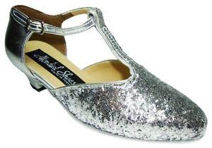 Dettagli su HORUS 05 scarpe da ballo donna bambina tacco 30R argento basse pelle