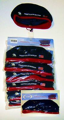 Lot of 6 Pieces Fleece Patriotic Berets with American Flag /& Eagle Stitched