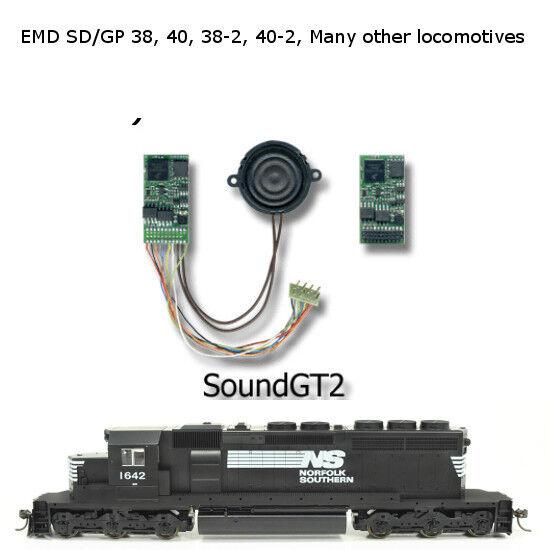 EMD GP38-2, GP40, GP40-2, GP40P-2, SD40, SD40-2, y muchos más sonido decodificador de GT2