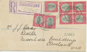 SOUTH-AFRICA-1936-ship-Drommedaris-block-of-4-3-single-stamps-multiple-postage