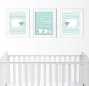 Details About Gender Neutral Sheep Nursery Prints Lamb Decor Aqua And Gray